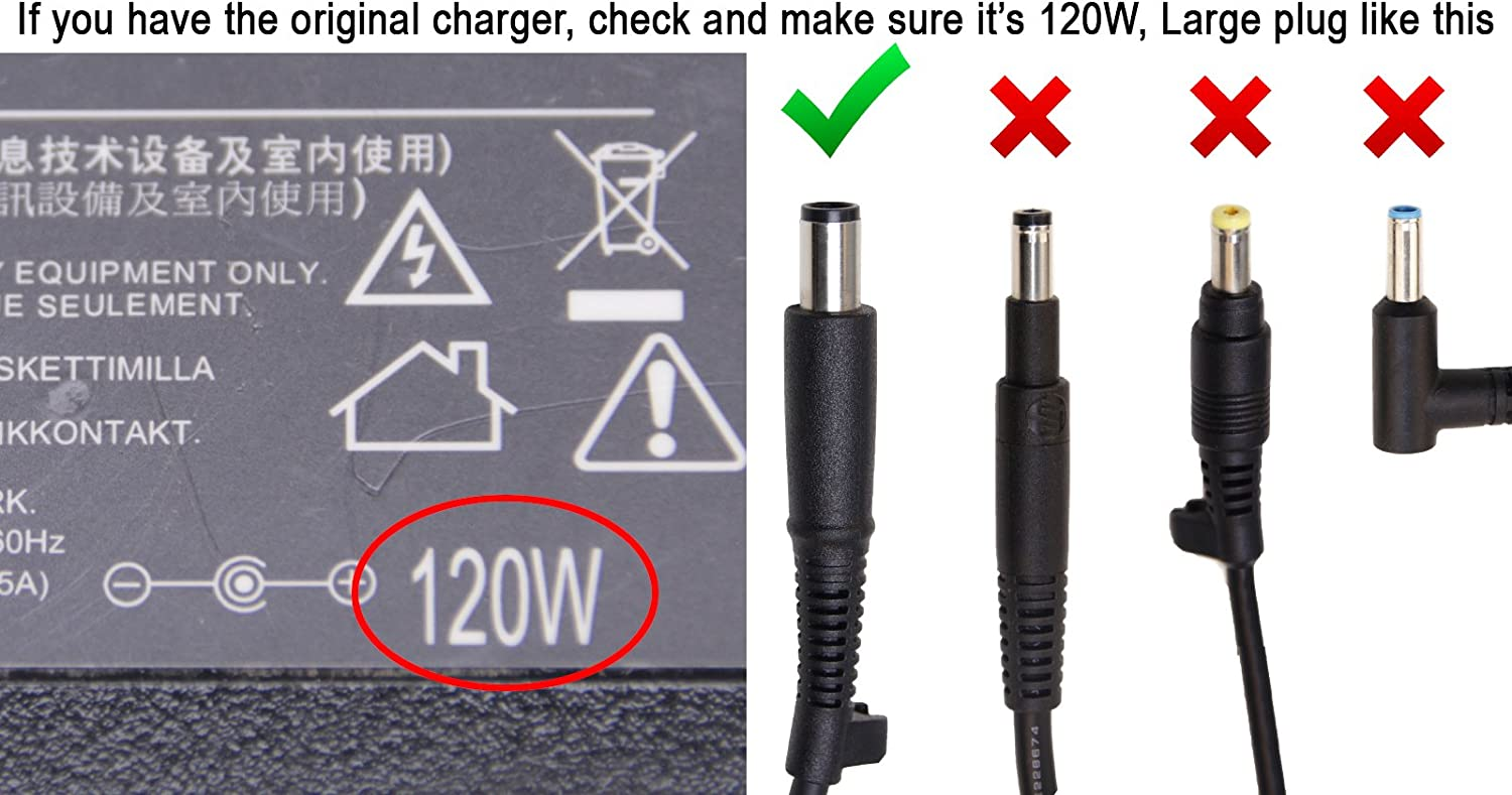 Laptop Charger 18.50V 6.50A 120W AC Adapter Power Cord Compatible with HP Pavilion dv6-3016tx dv6-3017sg dv6-3017tx dv6-3018tx dv6-3022tx dv6-3027tx dv6-3029tx dv6-3030ep dv6-3031tx dv6-3032tx