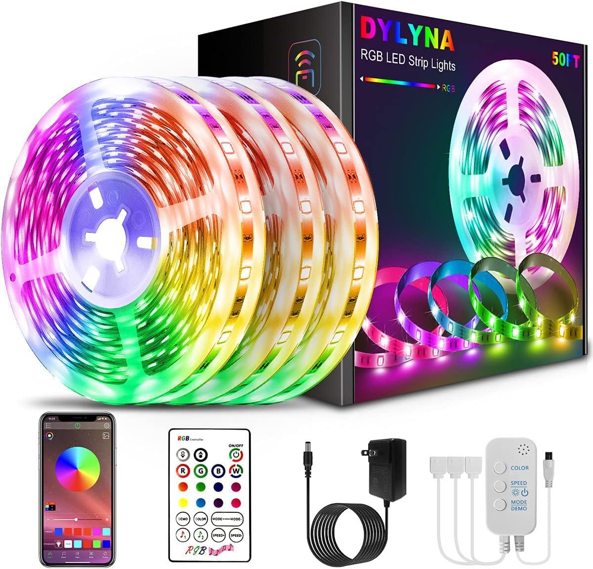 DYLYNA Led Strip Lights 50ft, Music Sync Color Change Led Lights for Bedroom,5050 SMD RGB Led Light Strips with Remote App Control Led Lights for Room Party