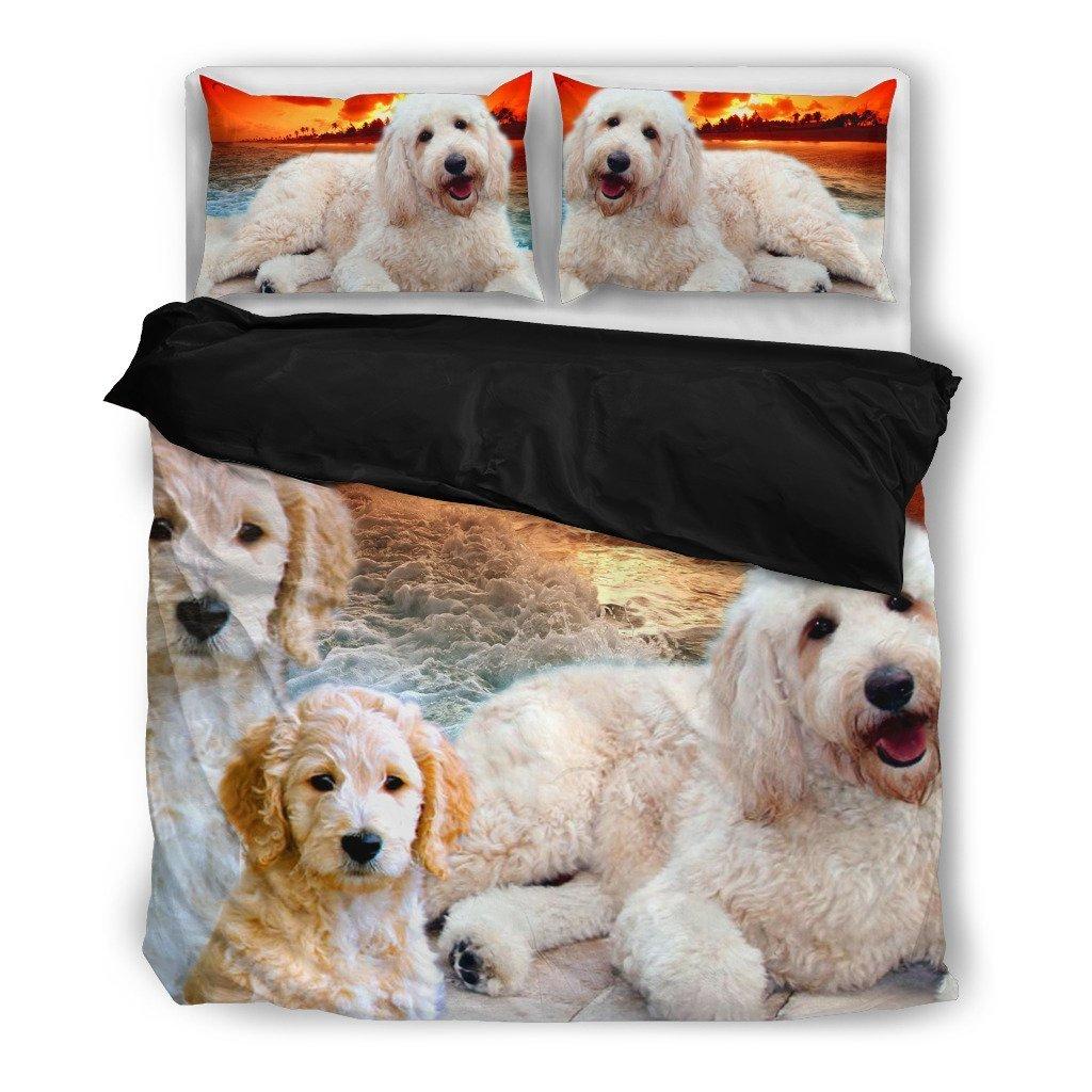Lovely Goldendoodle印刷寝具セット – Dog Lovers Gifts – カスタムカバー印刷デザイン枕カバー&布団毛布カバー – ペットギフトアイデア Queen/Full B07941FH4C  Queen/Full