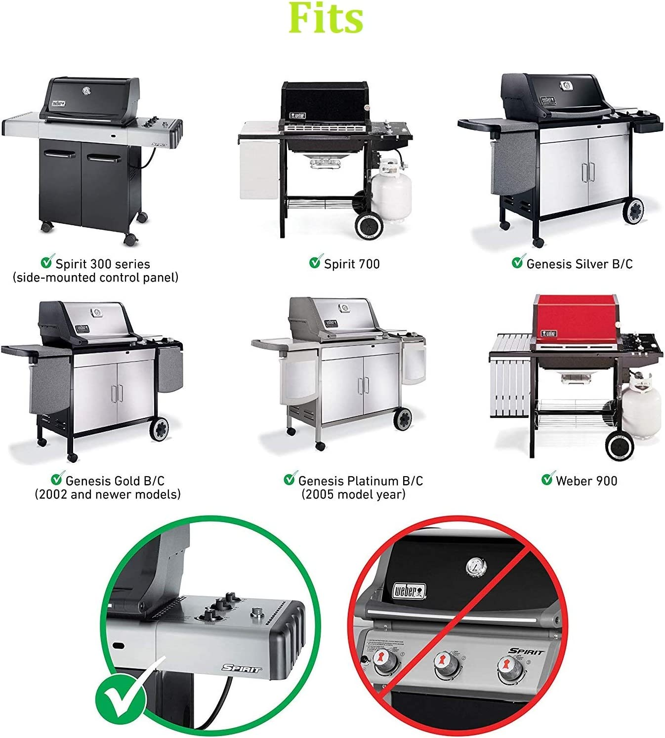 with Side-Mounted Control Panel Hongso 17.5 Inches Grill Grates and 22.5 Inches Flavorizer Bars Bundle for Weber Spirit 300 Series