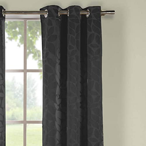 Duck River Textiles – Zayden Floral Leaf Print Silk Textured Grommet Top Window Curtains for Living Room Bedroom – Assorted Colors – Set of 2 Panels 38 X 96 Inch – Black