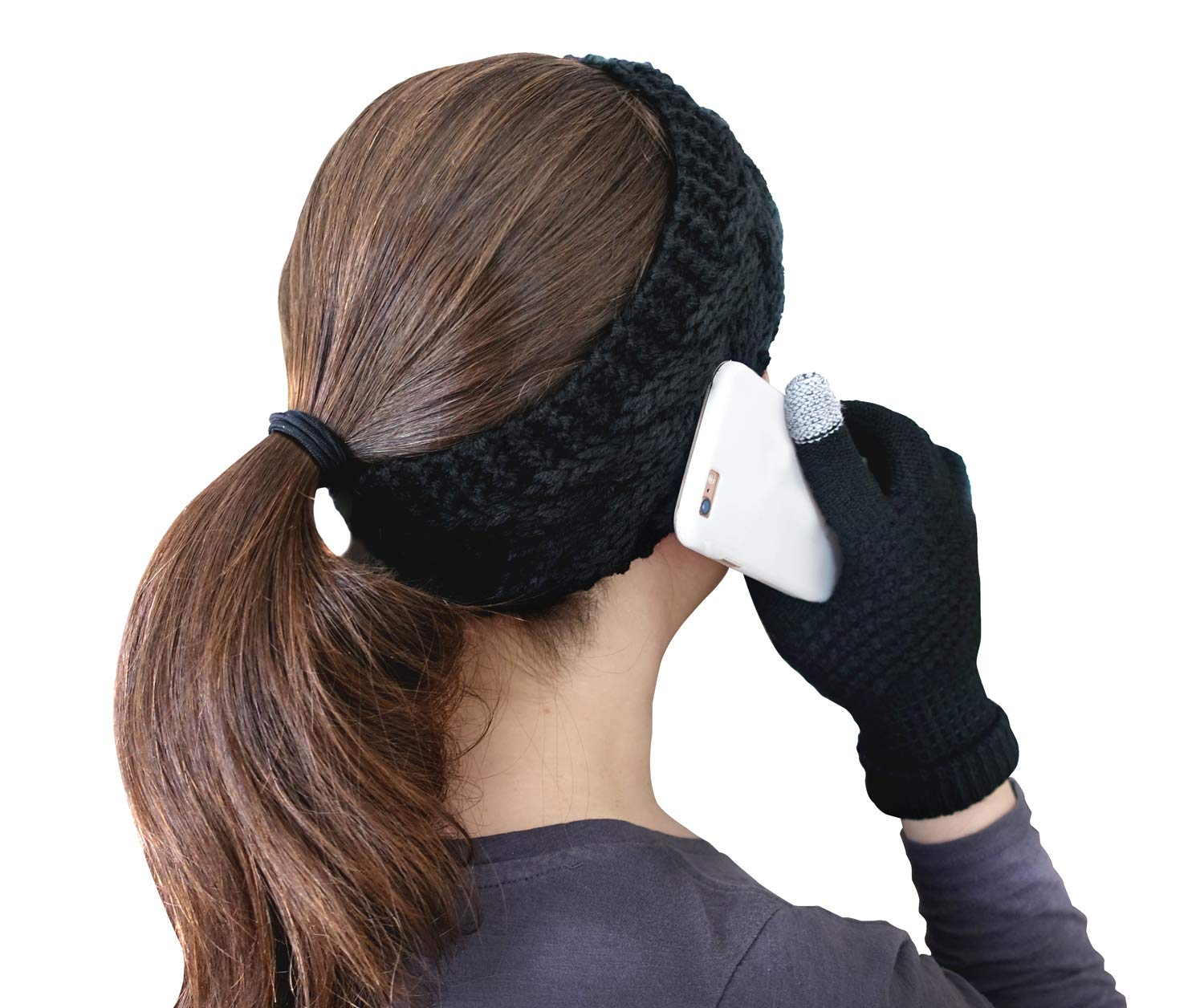 PrimaLuce Woven Knit Headband and Touch Screen Gloves | Ear Warmers | Smartphone Gloves