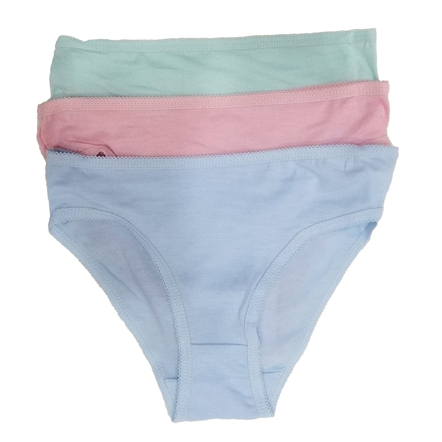 12 Pack Girls Knickers Kids Underwear Plain Cotton Briefs Pants Childrens Shorts Size 3-12 Years New