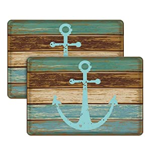 """Nautical Anchor Bathroom Rug, Uphome Vintage Retro Flannel Microfiber Turquoise and Brown Non-slip Soft Absorbent Bath Rug Kitchen Floor Mat Carpet (2 Pieces, 16""""W x 24""""L)"""