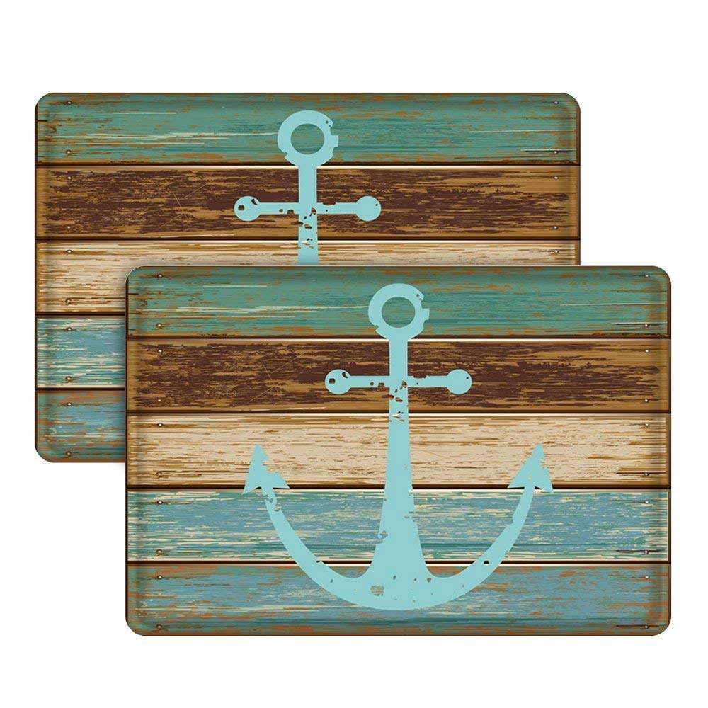 Nautical Anchor Bathroom Rug, Uphome Vintage Retro Flannel Microfiber Turquoise and Brown Non-slip Soft Absorbent Bath Rug Kitchen Floor Mat Carpet (2 Pieces, 16''W x 24''L)
