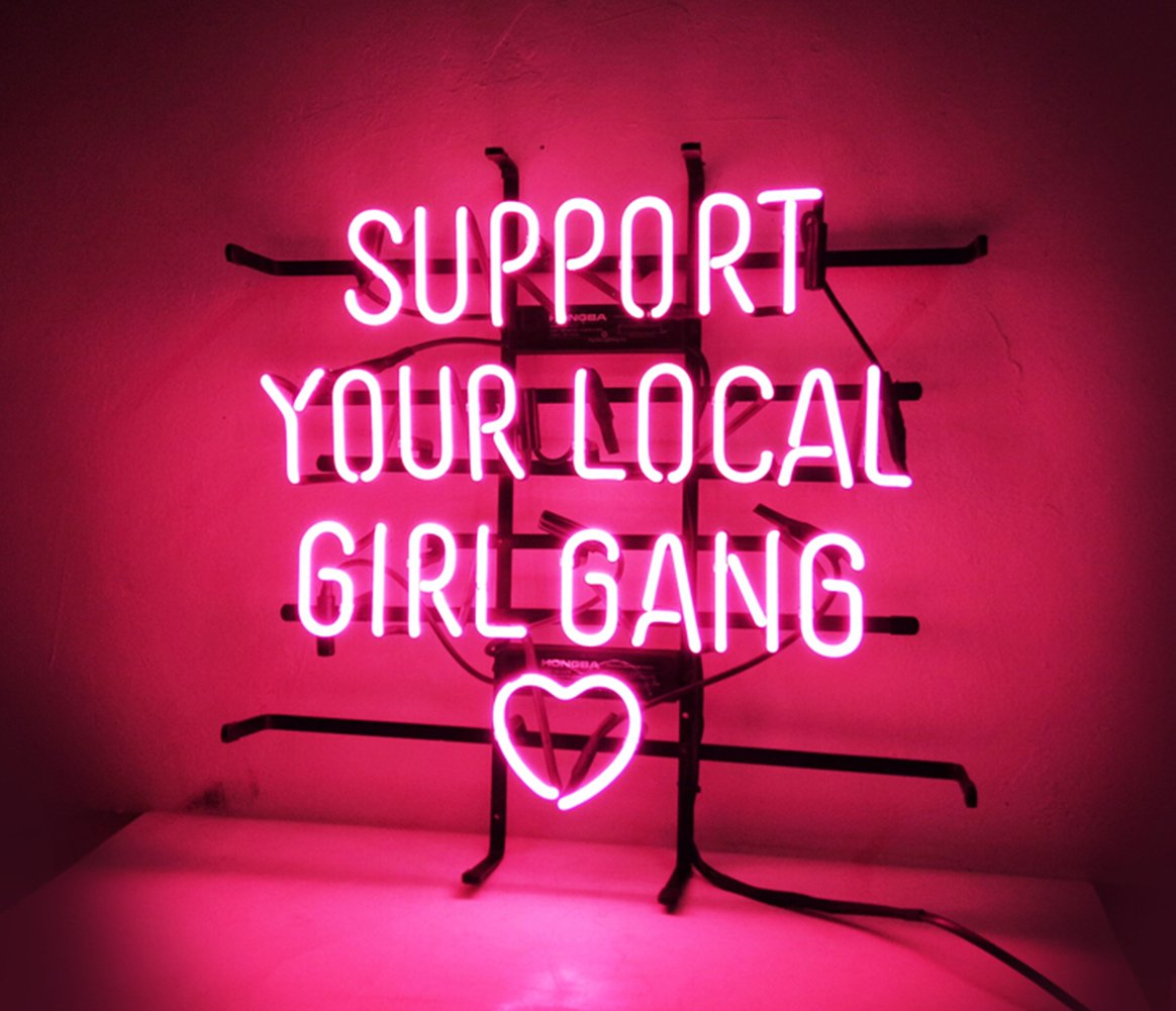New Custom Neon Sign Pink Room Decor 'Support Your Local Girl Bang' for Bedroom Bar Beer Pub Home Hotel Beach Bar Garage Cocktail Recreational Game Room 18'' x 16'' by KUKUU (Image #3)