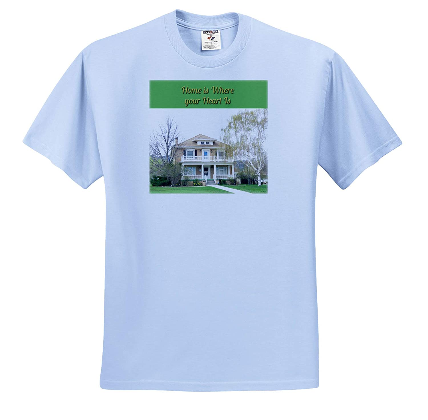Home is Where Your Heart is with a Beautiful Old House 3dRose Jos Fauxtographee- Home Adult T-Shirt XL ts/_319620