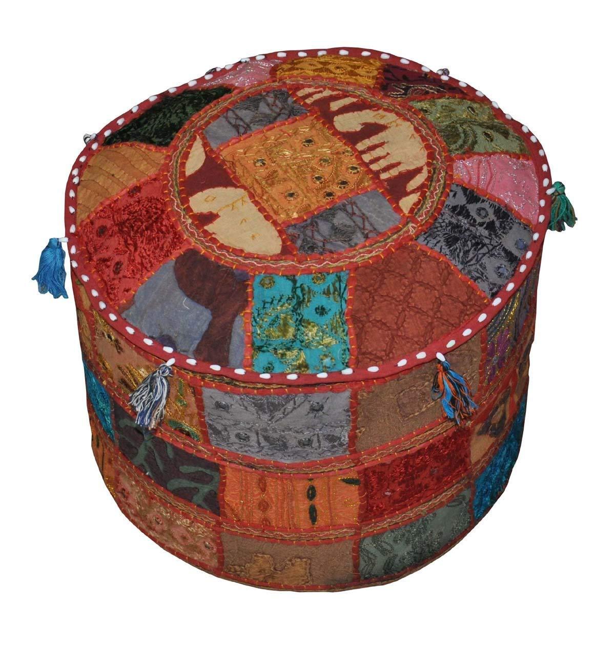 GANESHAM Footstool Pouf Ottoman Indian Living Room Decor Hippie Patchwork Bean Bag Boho Chic Bohemian Hand Embroidered Ethnic Handmade Vintage Cotton Floor Pillows & Cushion 13'' H x 18'' Diam.