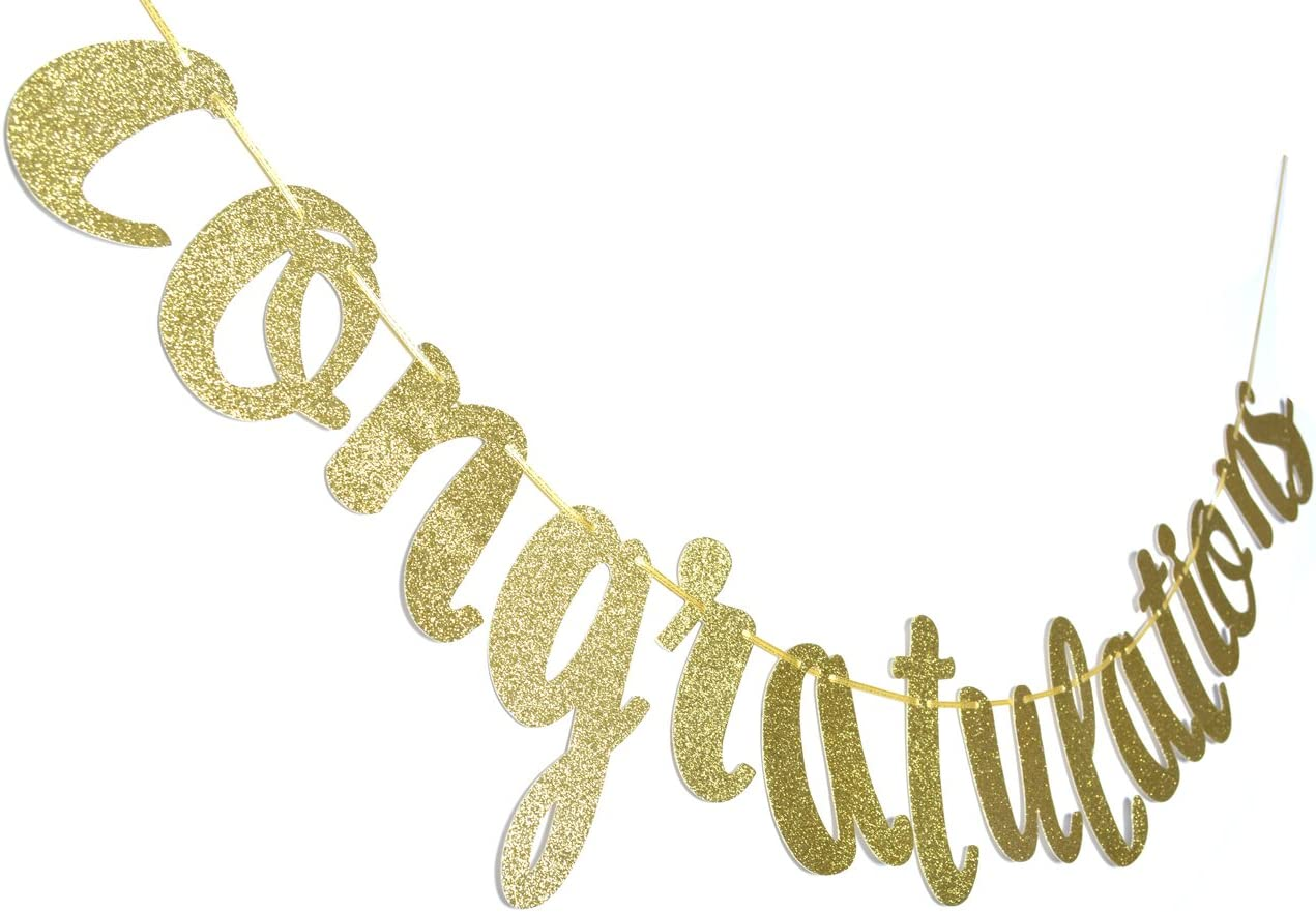 Amazon.com: Felicidades oro purpurina cursiva pancarta ...