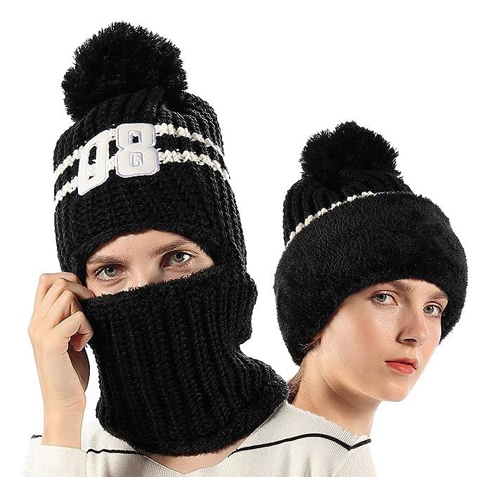 bfb4d449398 FLY HAWK Women Girls Kids Knit Beanie Face Mask Balaclava Hat Winter  Outdoor Ski Cycling Skull