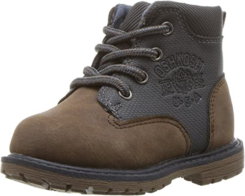 10 M US Toddler OshKosh BGosh Murphy Boys Lace Up Boot Combat Brown//Grey