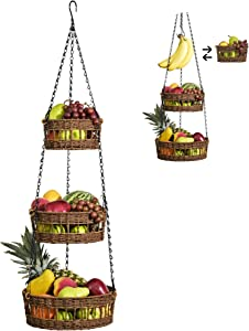 Hanging Fruit Basket 3 Tier - Free Up Countertop - Wicker Vegetable Storage and Fruit Organizer - Saves Space - Macrame Hanging Baskets for Kitchen with Banana Holder - Carries 20lb - Brown