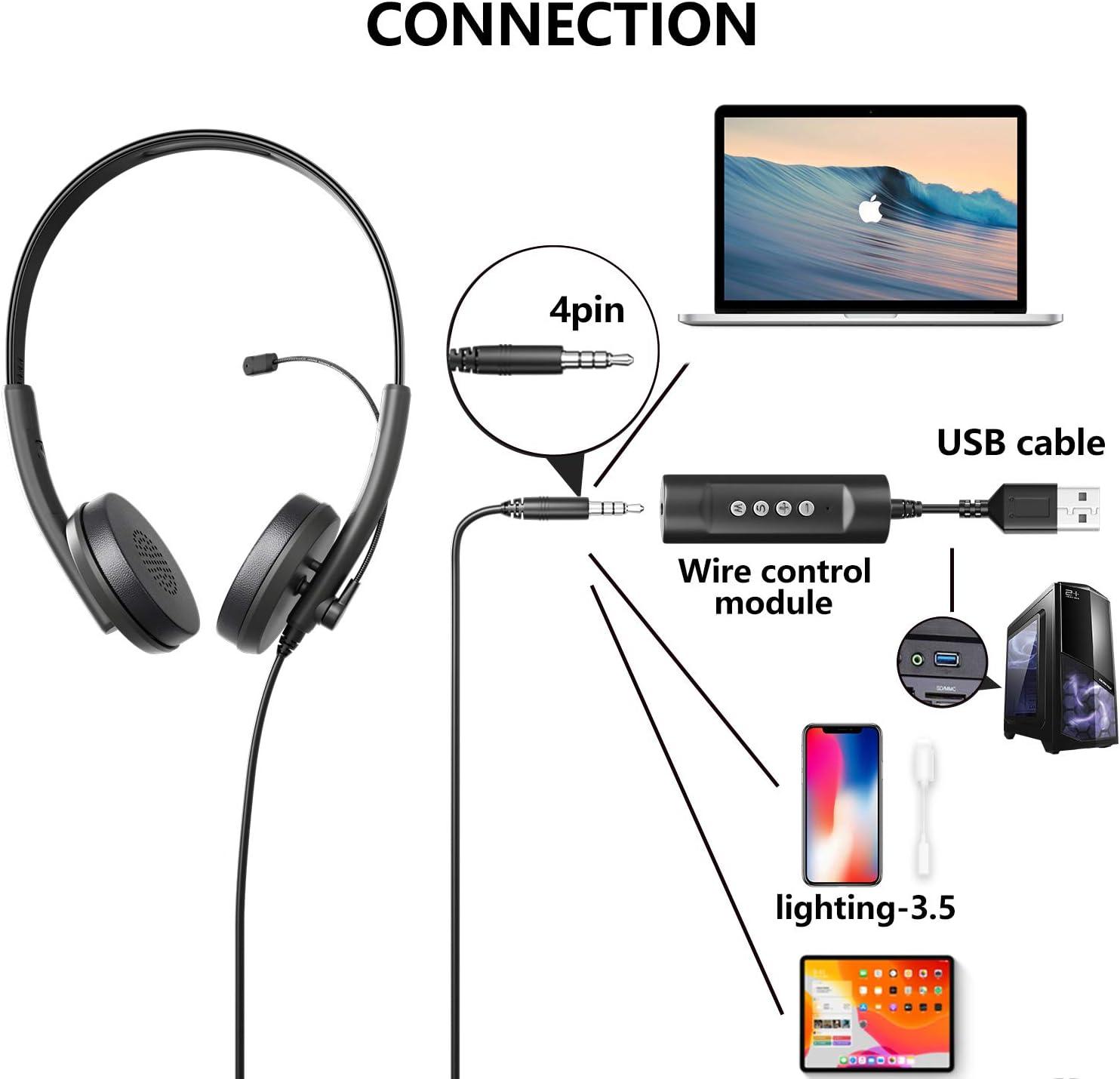 PC Auriculares Diadema Telefono USB//3.5mm M/óviles Skype Tel/éfono Fijo Cascos Diadema con Cancelaci/ón de Ruido Micro para VoIP Oficina Newaner Auriculares PC con Cable y Micr/ófono Teleconfe