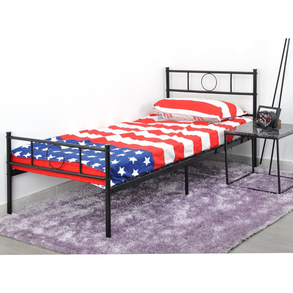 Marco de cama de metal Coavas 3 pies solo niño o adultos base sólida ...