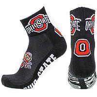 NCAA Ohio State Buckeyes Men's Quarter Socks, Black/Scarlet/White/Gray