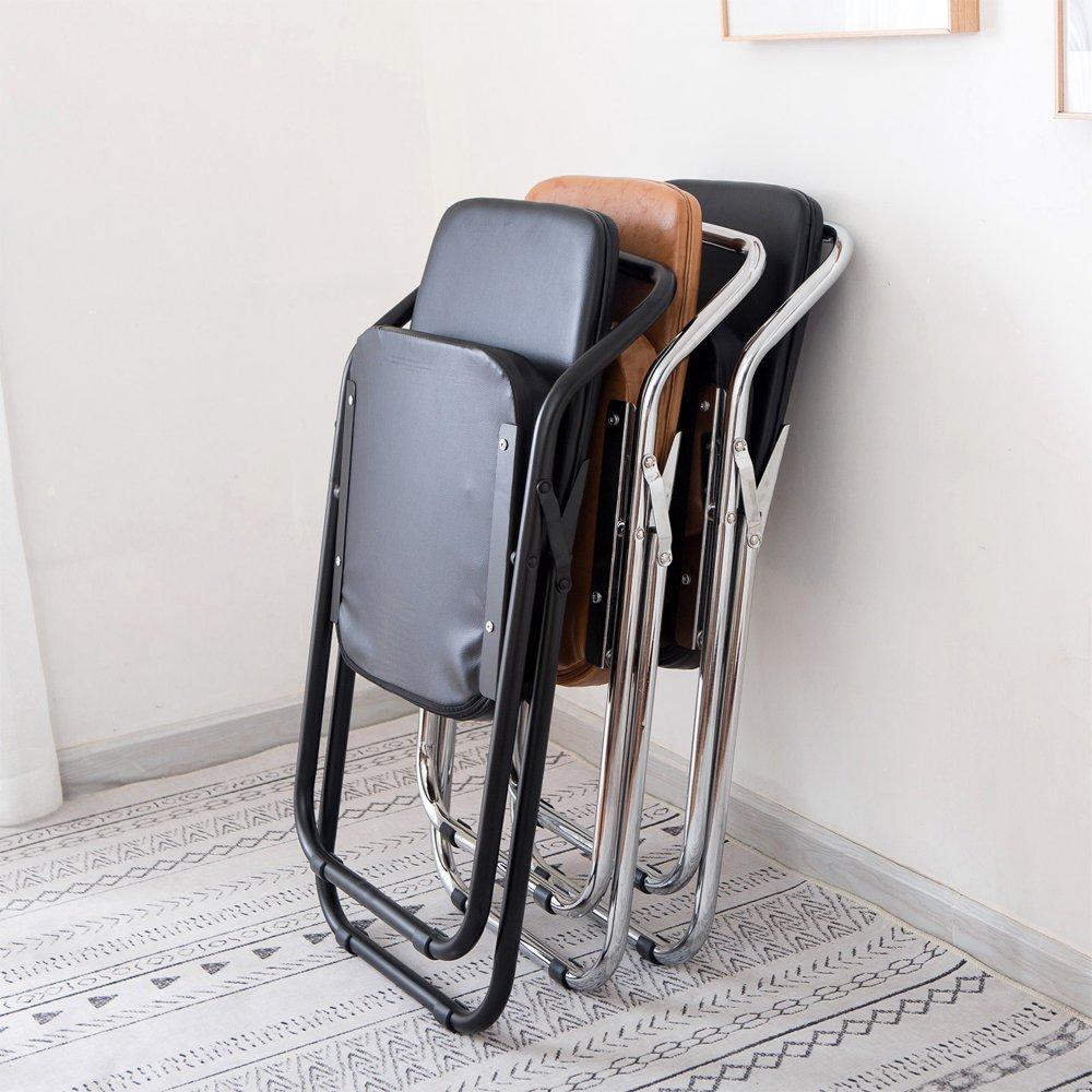 Yi Hai Folding Chair Thick Padded,, metal,black,set of One