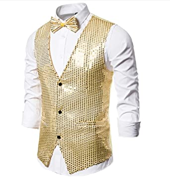 XFXFXZXZ Blazer Hombre Traje de Discoteca Brillante Brillo ...