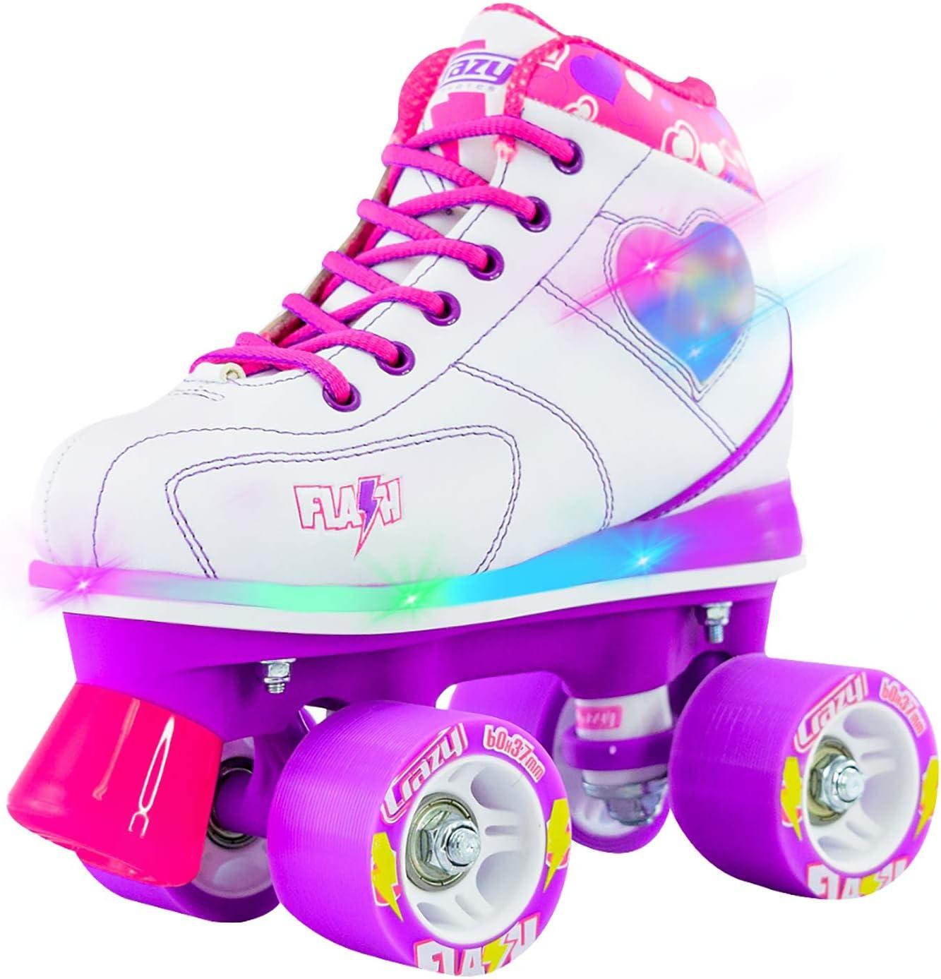 Crazy Skates Flash Roller Skates for Girls – Light Up Skates with Ultra Bright LED Lights and Flashing Lightning Bolt – White Patines