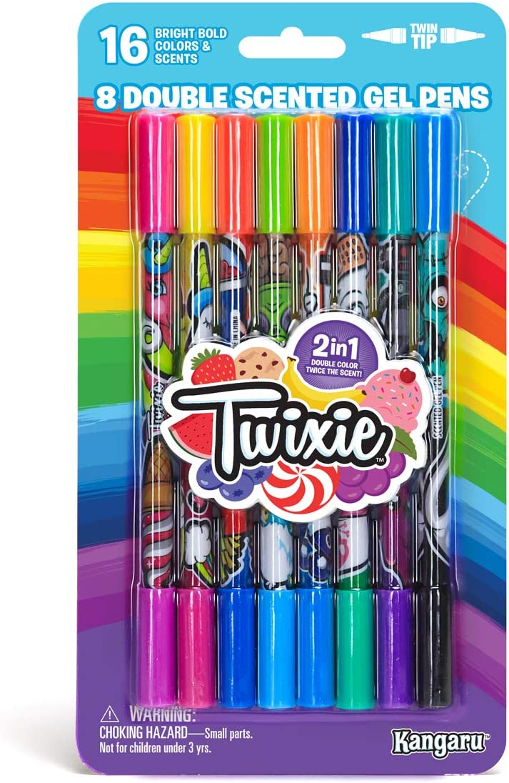 TWIXIE - Scented Gel Pens for Kids & Teens (8 Count Pack - Double End Gel Pens) | 16 Colors & Yummy Scents Set | Delicious Smell & Sniff School Supplies for Girls & Boys | Color, Draw & Make Art
