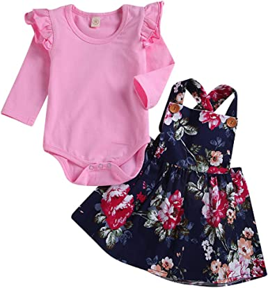 2Pcs Toddler Baby Girl Clothes Set Floral Romper Bodysuit and Suspender Overall Skirt Ruffle Sleeve Top Summer Outfit