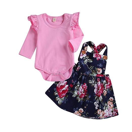 53f9f171b04 Amazon.com  Baby Girls Suspender Skirt Set Ruffle Long Sleeve Romper Tops +  Flowers Strap Skirt Outfit 2PCS  Clothing