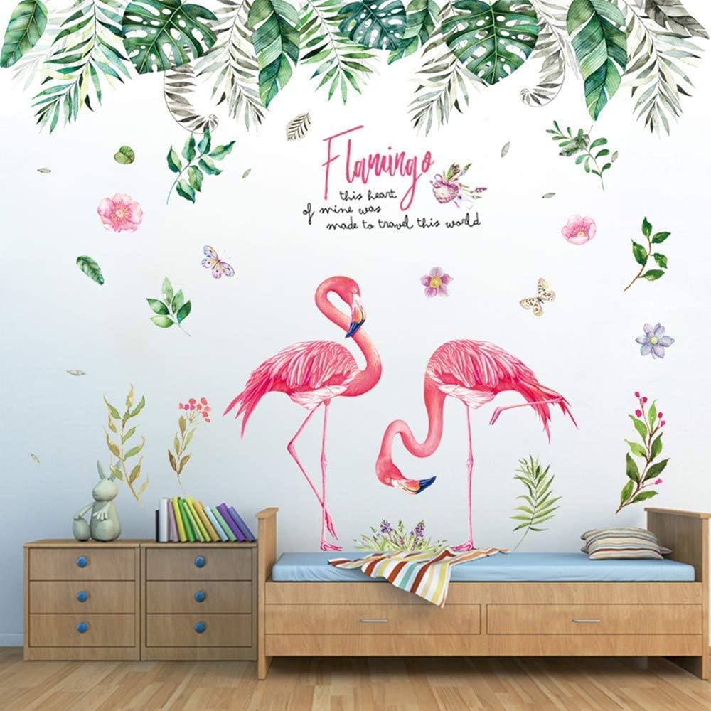Wall Stickers for Bedroom, Jungle and Flamingo Wall Stickers as Wall Decoration for Living Room Nursery 150×130cm|Decorative Wall Decal Wallpaper for Wall Window Furniture Kitchen Window Hallway