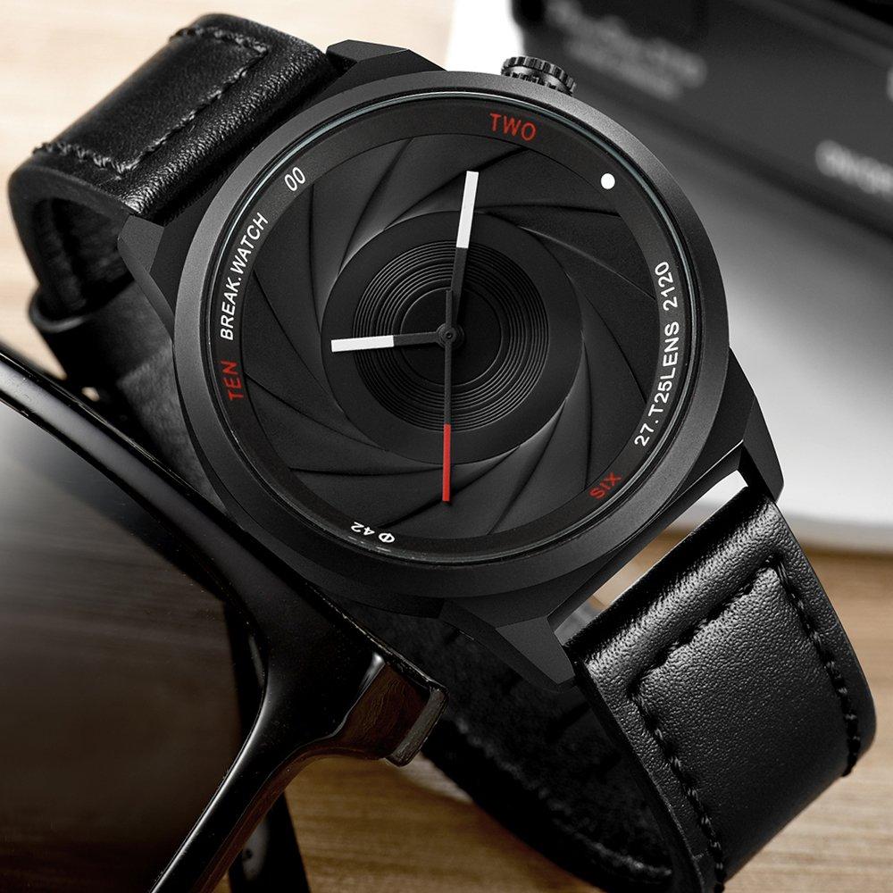 BREAK Reloj de Cuarzo para Hombres, Reloj de Pulsera único Reloj de Cámara Impermeable, Relojes Analógicos de Moda para Actividades al Aire Libre, ...