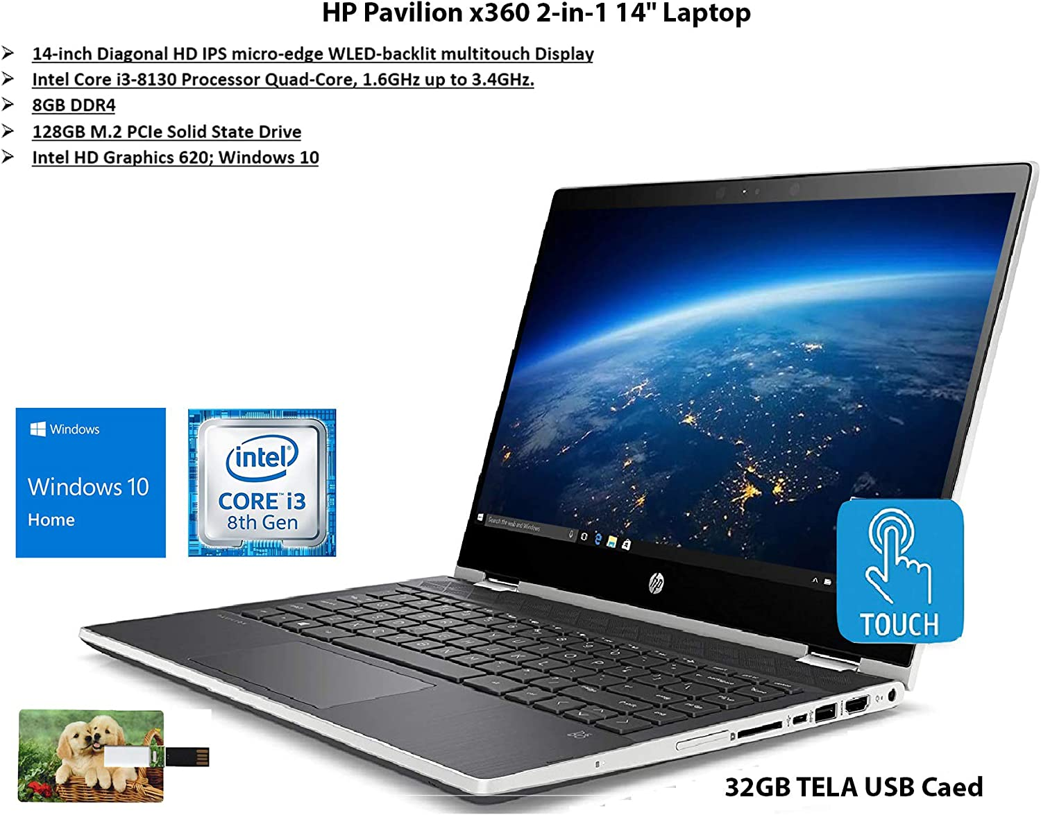"2020 Newest HP Pavilion x360 2-in-1 14"" Diagonal HD IPS Touchscreen Laptop Intel Core i3 8GB SDRAM 128GB SSD Ash Silver Keyboard Frame, Natural Silver, Windows 10 