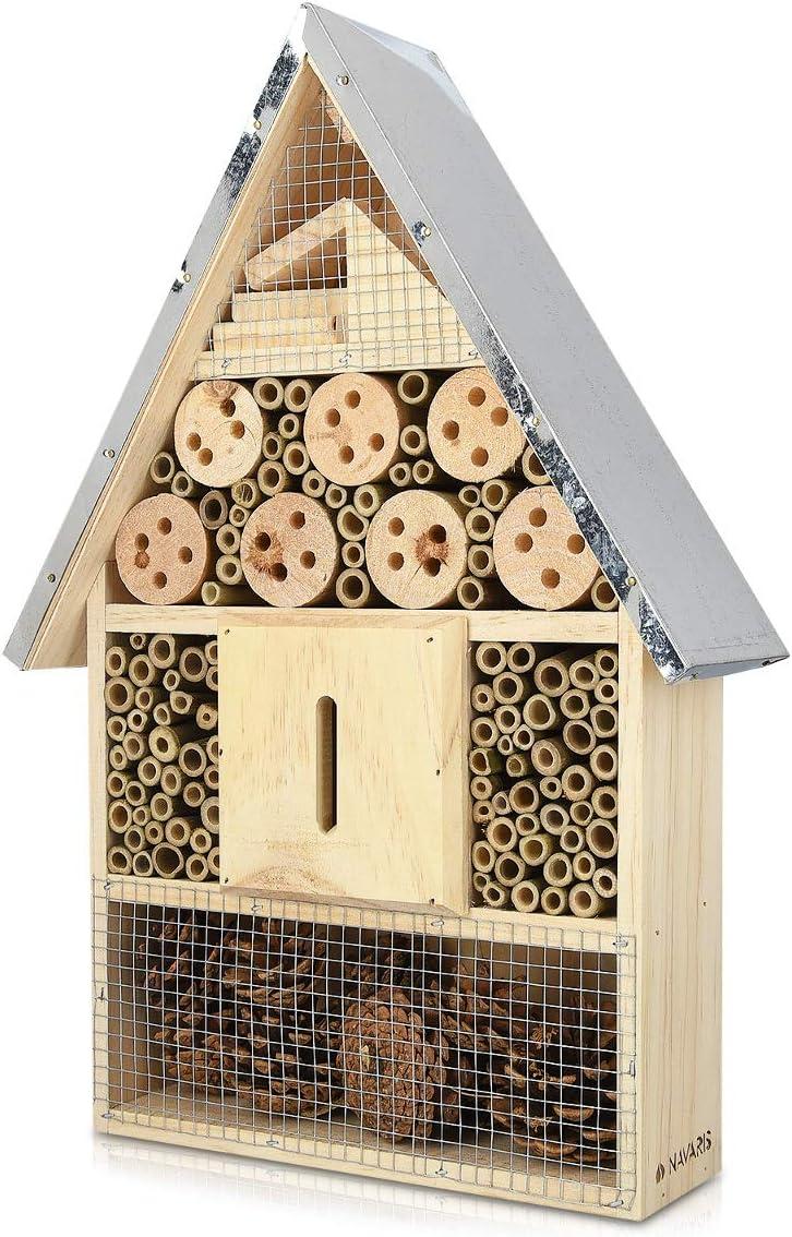 Navaris XL Hotel para Insectos de Madera - observatorio de Insectos 23 x 40 x 7 cm - casa Natural Cubierta metálica y Gancho para Diferentes bichos