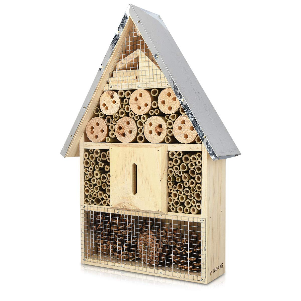 Navaris M Wooden Insect Hotel - 24.5 x 28 x 7.5 cm - Natural Wood Insect House - Garden Shelter Bamboo Nesting Habitat Bees Butterflies Ladybugs KW-Commerce 44341_m000676