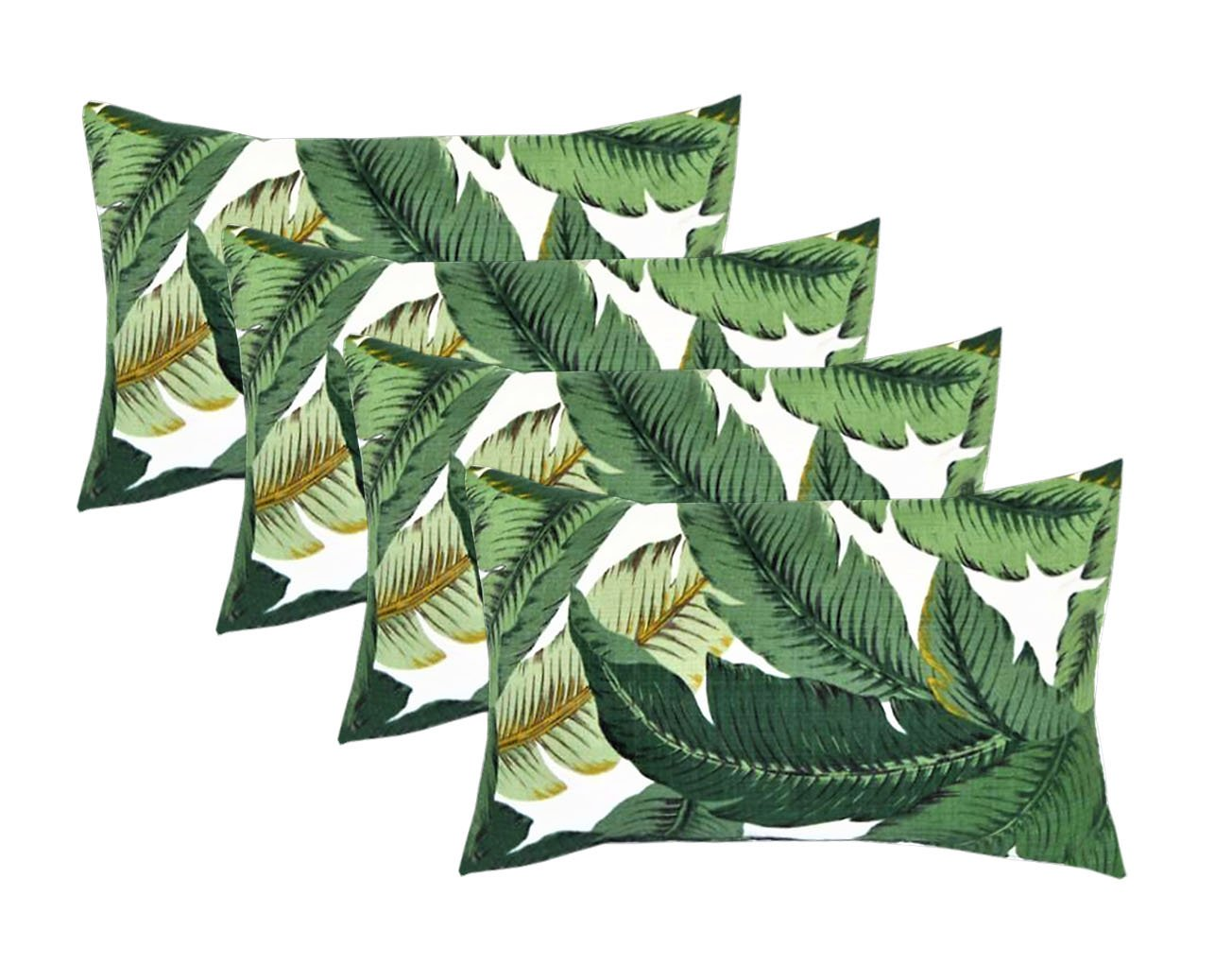 Set of 4 Indoor / Outdoor Decorative Lumbar / Rectangle Pillows - Tommy Bahama Swaying Palms - Aloe - Green Tropical Palm Leaf
