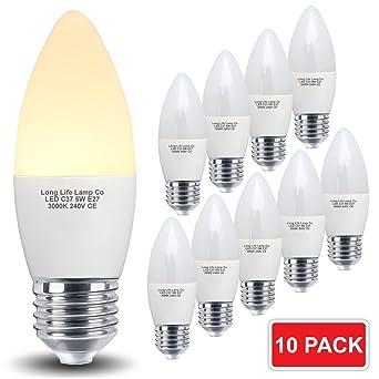 10 Pack 5 W LED vela bombilla E27 blanco cálido, cubierta