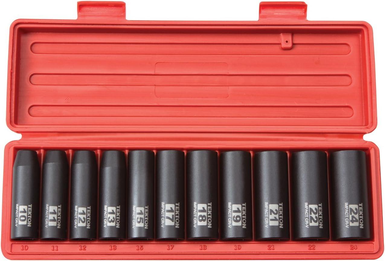 14 pi/èces TEKTON 4885 Jeu de douilles longues /à impact 6 pans 1//2 11-32 mm