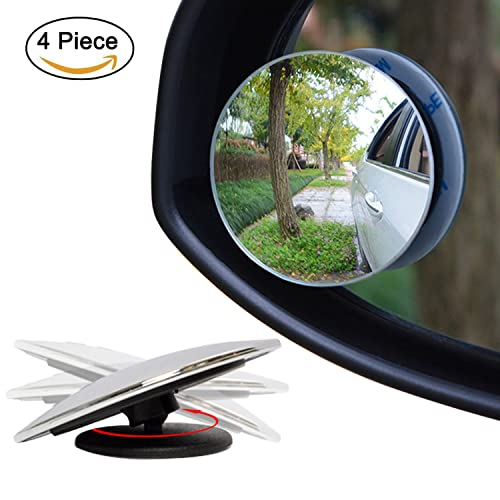 "Ampper Upgrade 2"" Blind Spot Mirrors, 360° Rotate + 30° Sway Adjustabe HD Glass Convex Wide Angle Rear View Car SUV Universal Fit Stick-On Lens (Pack of 4)"