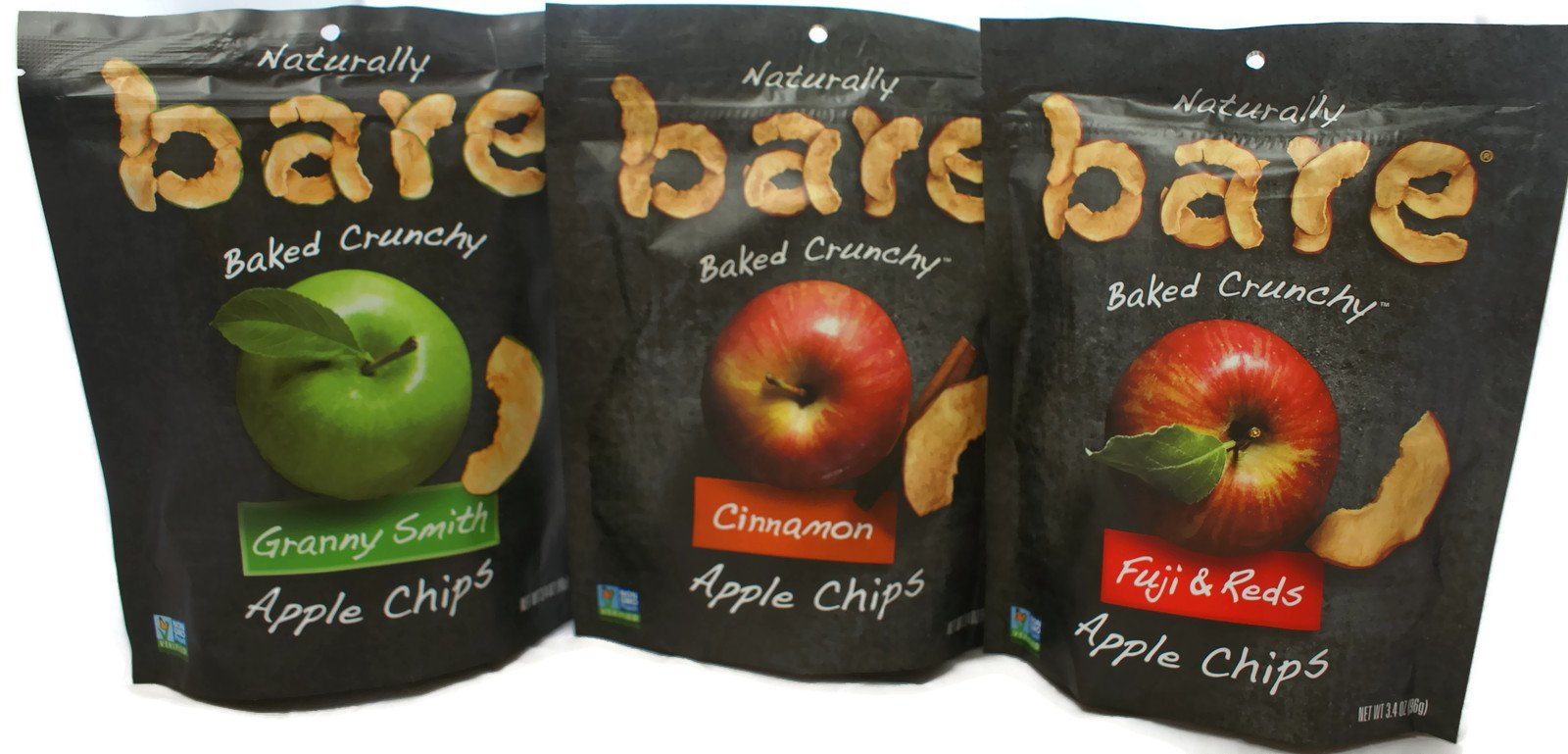 Variety Pack - Bare Apple Chips - (3.4 oz) Granny Smith, Fuji & Reds, Cinnamon