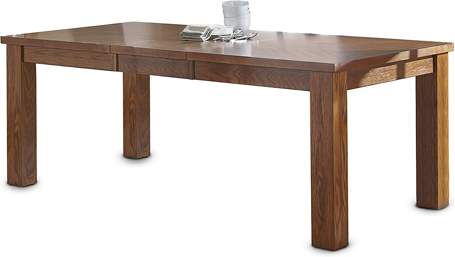 Steve Silver Company Lakewood Table with 18 Leaf, 42 x 60 -78 x 30 , Medium Oak