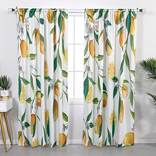 YoKII Lemon Floral Blackout Curtain