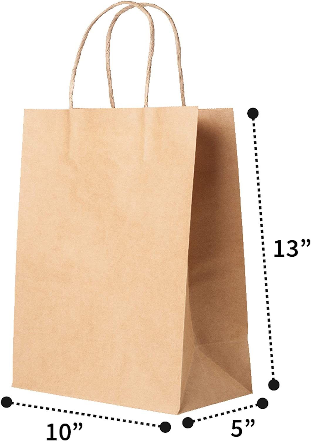 10x5x13 Recycled Kraft Paper Bags with Handles 100 pcs, Brown| Great for Shopping, Retail Packaging, Food Service, Party, Craft, Wedding Gifts, Goody Bag and More!