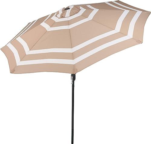 Sunnydaze 9 Foot Outdoor Patio Umbrella with Push Button Tilt Crank, Aluminum, Beige Stripe