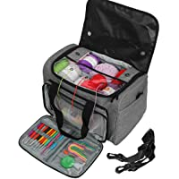 OZone Knitting Bag with Soulder Strap, Yarn Tote Organizer with Removable Inner Divider, Outdoor Knitting Bag…