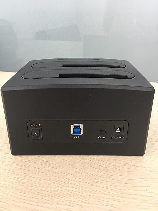 dansrue USB 3.0 A SATA Dual-bay estación de acoplamiento para ...