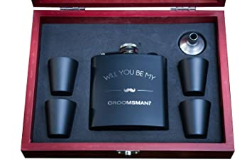 Amazon Com Will You Be My Groomsman Engraved Wooden Gift Box Flask