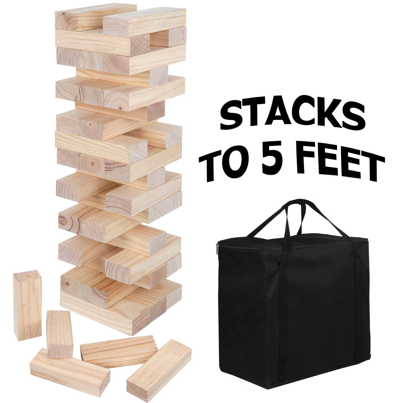 ZENY 54 Pieces Giant Tumbling Timbers Toppling Tower Wood Block Stacking Games Building Blocks Yard Game for Kids,Adults,Build to 5 Feet by ZENY