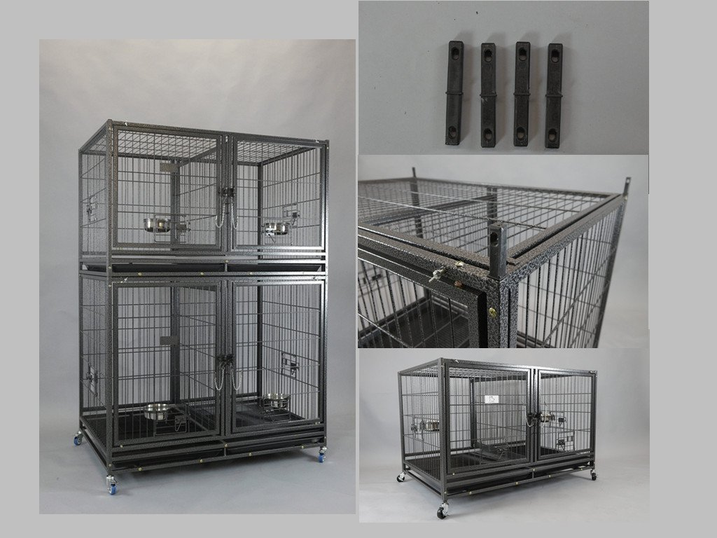 Homey Pet-43 All Metal Open Top Stackable Heavy Duty Cage(Upper) w/Floor Grid, Tray, Divider, and Feeding Bowl by Homey Pet (Image #6)