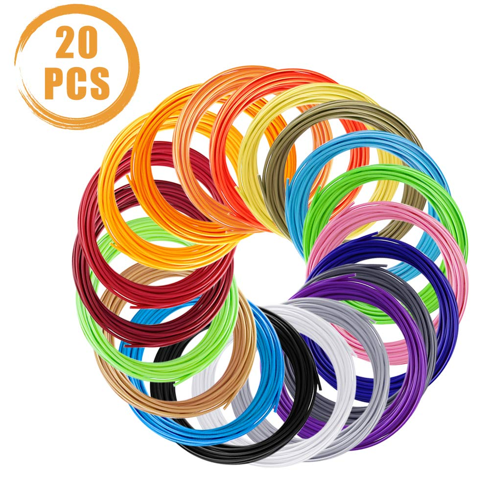 Quacoww 20Pcs 5M PLA Material 3D Pen Filament 20 Colors Includes 2 Glow in the Dark, 1.75mm 3D Printing Material Refills