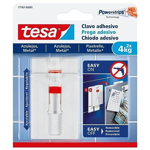 14 opinioni per Tesa 77767-00001-00 Chiodo Adesivo Regolabile per Piastrelle e Metallo, Bianco