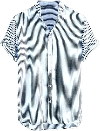 CAOQAO Camisas Hombre Manga Corta Hawaiana Camisa Línea de Verano a Rayas de Camisa Ligera Transpirable: Amazon.es: Ropa y accesorios