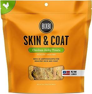 Bixbi Dog Jerky Treat, Skin & Coat, Chicken, 12 Ounce