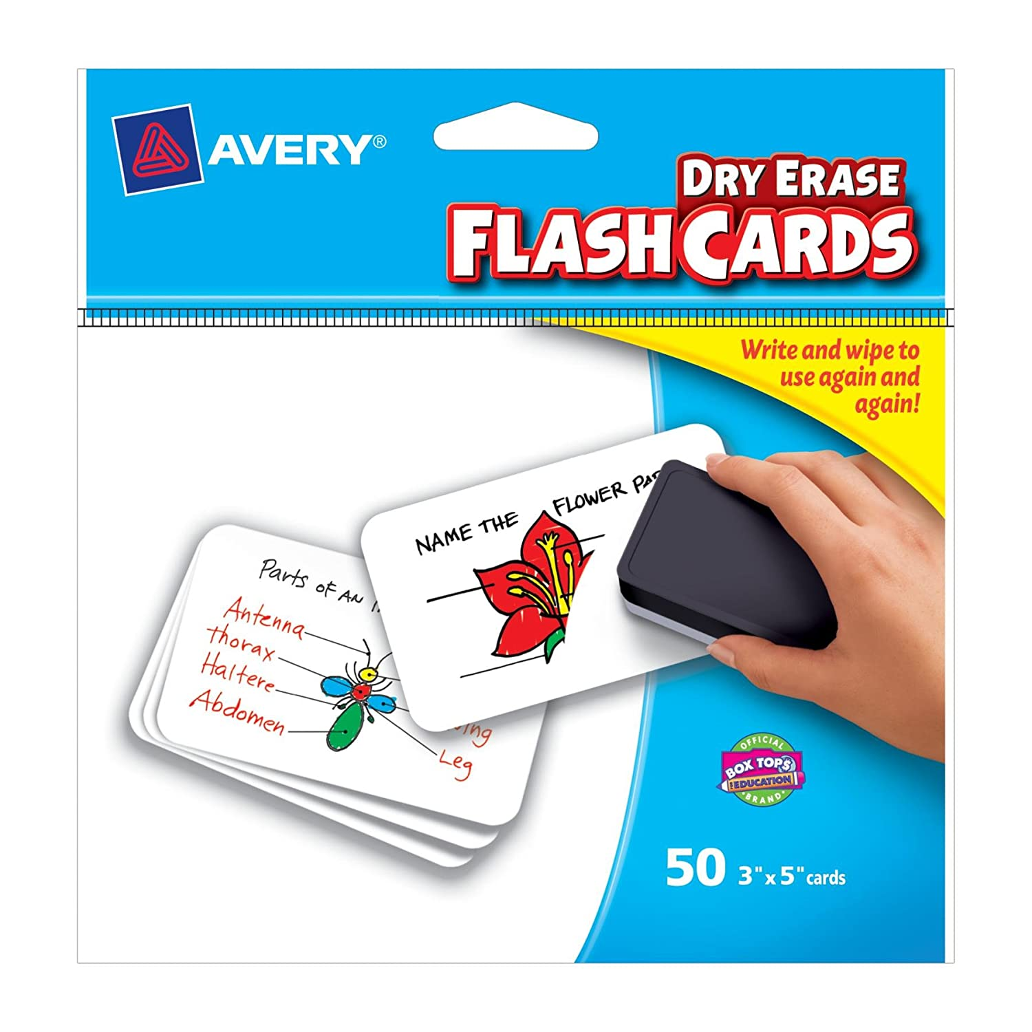 Amazon.com: Avery Write-On Dry Erase Flash Cards, 3 x 5-Inches, 50 ...
