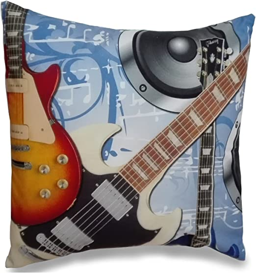 ESTELA - Funda de cojín Estampada Guitarras - Medidas 50x50 cm ...